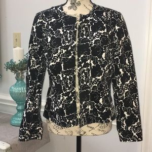 Black and white floral print jacket